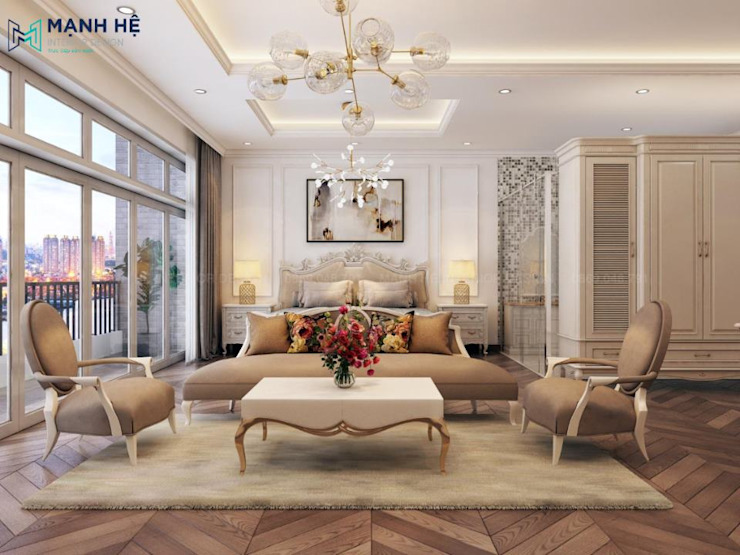 Ghế sofa chính dạng dài, cùng 2 ghế phụ mềm mại với chất liệu vải nỉ Phòng ngủ phong cách hiện đại bởi Công ty TNHH Nội Thất Mạnh Hệ Hiện đại