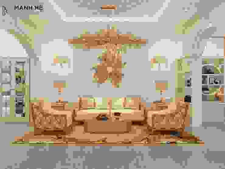 Nội thất phòng khách biệt thự Tân Cổ Điển sang trọng Phòng khách phong cách kinh điển bởi Công ty TNHH Nội Thất Mạnh Hệ Kinh điển