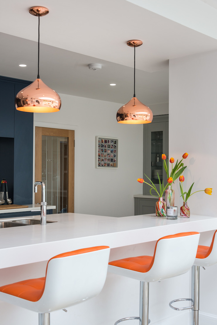 Bespoke Hand Painted Kitchen In Navy And Grey With Copper And Orange Highlights By Christopher Howard Homify