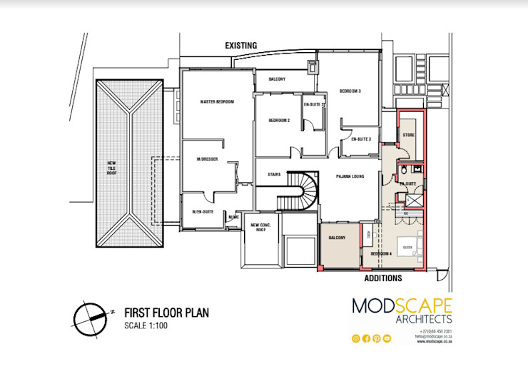 The layout (first floor) Modern houses by Modscape Architects Modern