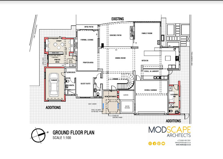The layout (ground floor) Modern houses by Modscape Architects Modern