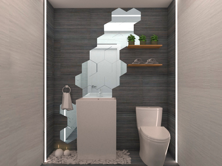 Diseño baño exterior homify Baños de estilo moderno Gris
