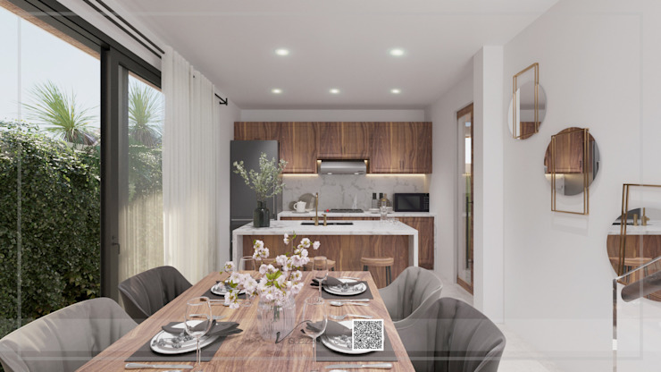 Visualización 3D Small kitchens Wood Wood effect
