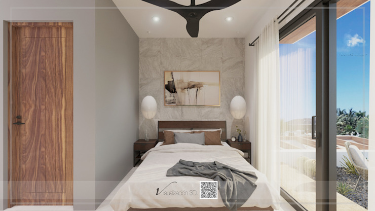 Visualización 3D Small bedroom Tiles Multicolored