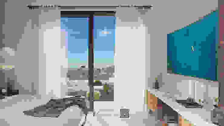 Visualización 3D Small bedroom Concrete Multicolored