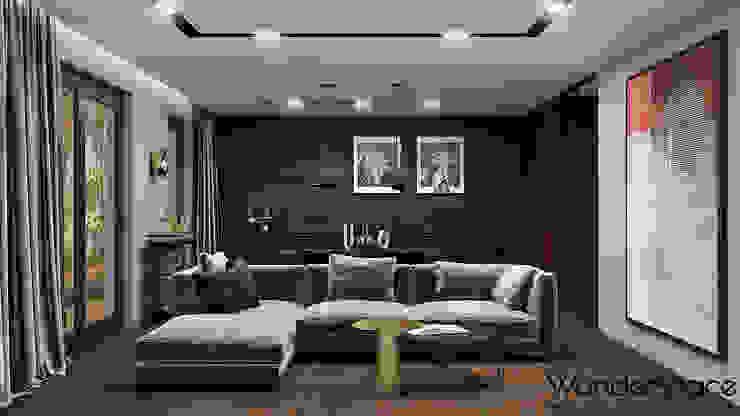 Burgundowy apartament - strefa dzienna Nowoczesny salon od Wonderspace Nowoczesny