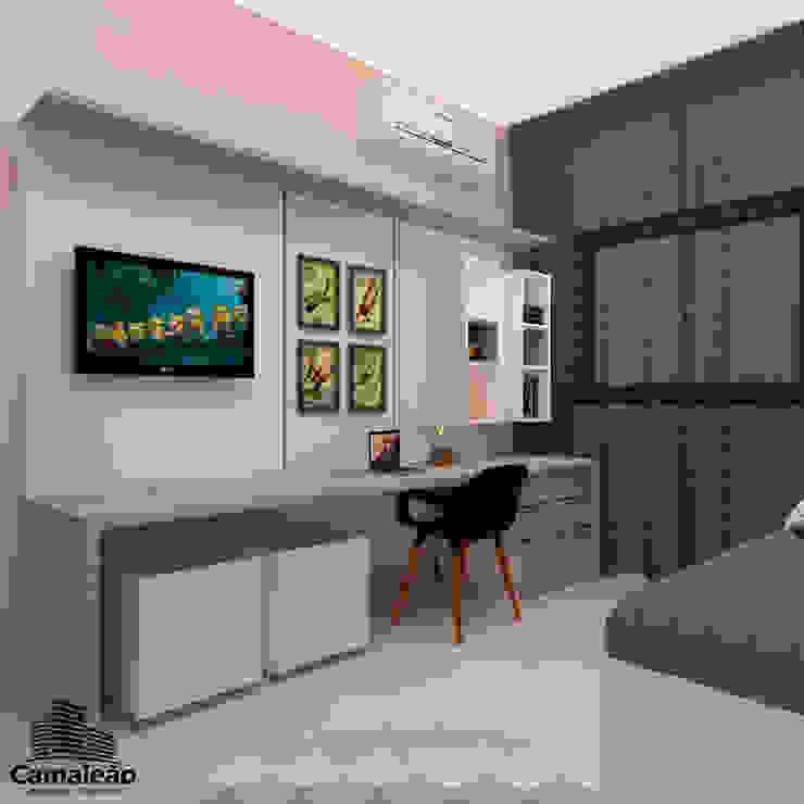 Painel da Tv e Mesa de Estudos - Perspectiva 3D Camaleão Arquitetura e Engenharia Quartos dos meninos