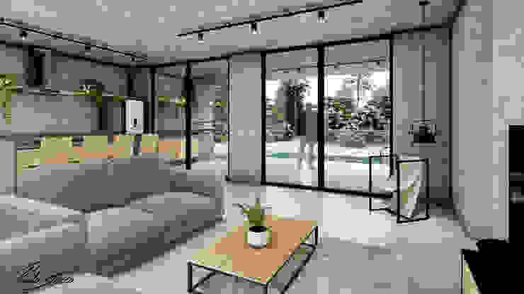 Paulo Stocco Arquiteto Rumah Gaya Industrial Beton Grey