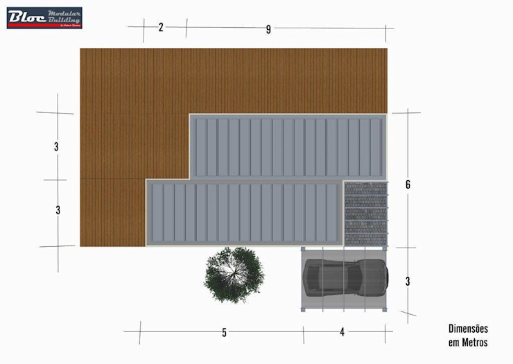 Casas modulares - Modelo BLOC Linea T2 - 54 m2 BLOC - Casas Modulares