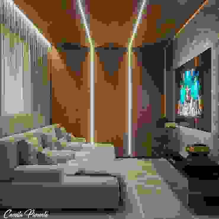Sala TV Camila Pimenta | Arquitetura + Interiores Eletrônicos Madeira Bege