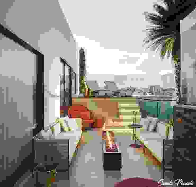 Terraço cobertura apartamento Camila Pimenta | Arquitetura + Interiores Varandas, alpendres e terraços minimalistas Granito Bege