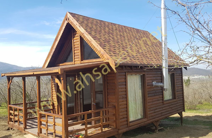 AHSAP EV - ADAPAZARI - 38 m2 SİSNELİ AHŞAP EV - AĞAÇ EV - KÜTÜK EV - BUNGALOV -KAMELYA Rustic style house