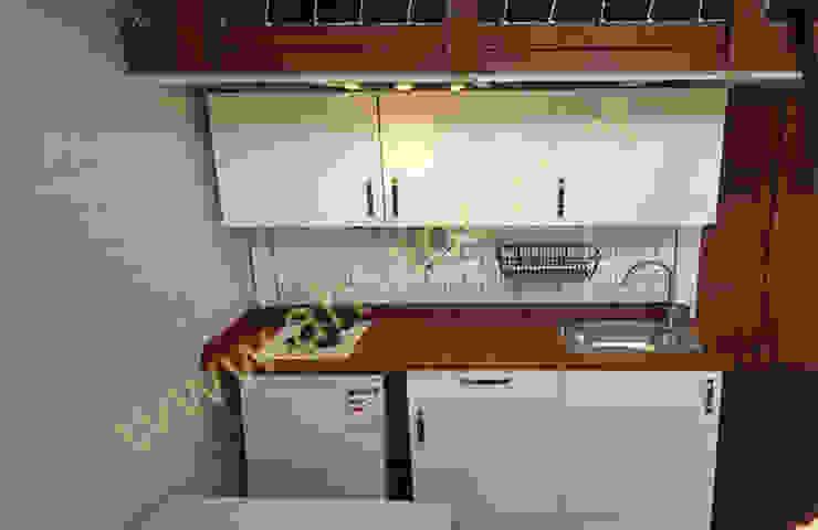 AHSAP EV—ADAPAZARI—38 m2 SİSNELİ AHŞAP EV - AĞAÇ EV - KÜTÜK EV - BUNGALOV -KAMELYA Small kitchens