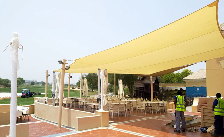 Tensile Fabric Shades Al Fares International Tents Classic style garage/shed Beige