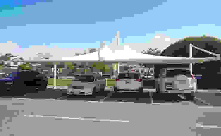 Car Parking Shades Supplier UAE Al Fares International Tents Prefabricated Garage White