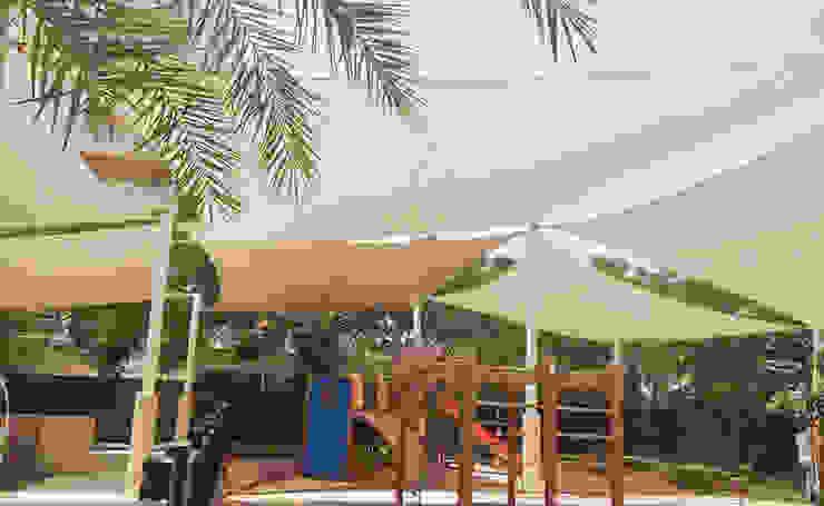 Tensile Fabric Structures UAE Al Fares International Tents Prefabricated Garage Metal Beige