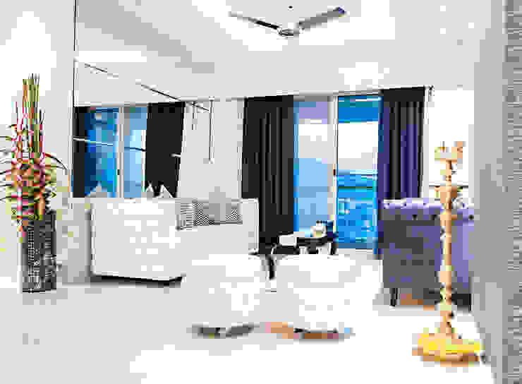 Mansi desai Ruang Keluarga Modern Marmer White