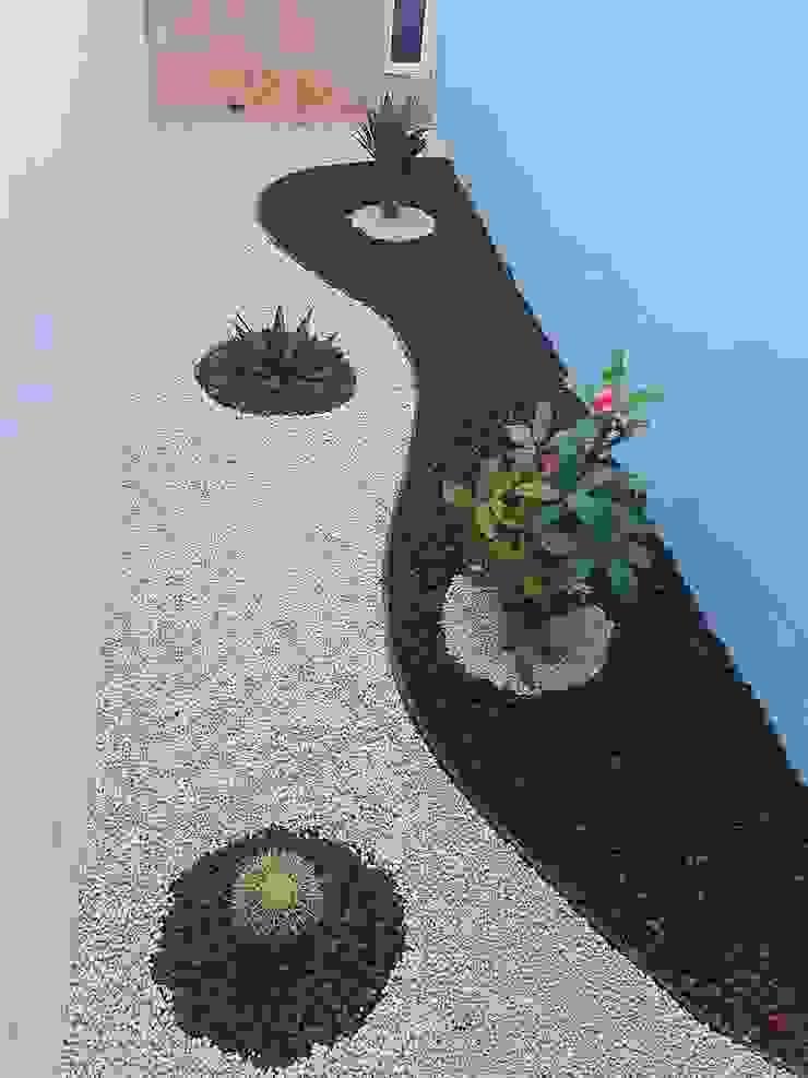 Jardín semidesértico con muro azul EcoEntorno Paisajismo Urbano Jardines japoneses