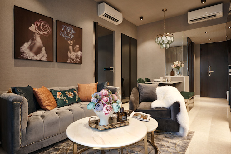 Botanique @ Bartley Tropical style living room by Mr Shopper Studio Pte Ltd Tropical Silver/Gold