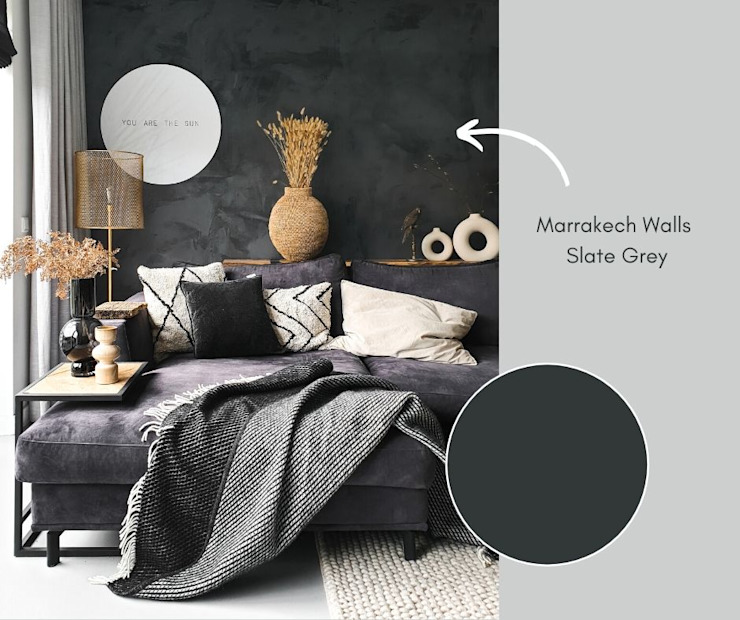 Woonkamer met Marrakech Walls betonlook in de kleur Slate Grey van Pure & Original: modern  door Pure & Original, Modern
