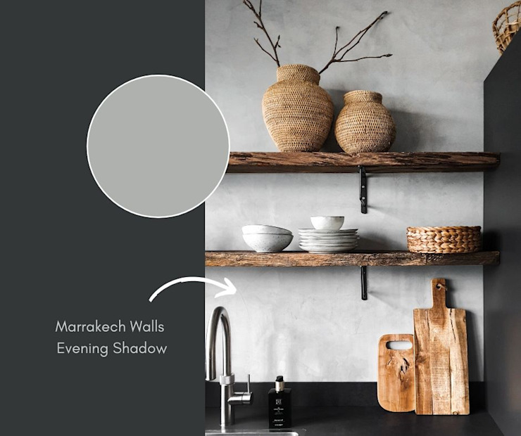 Keuken met Marrakech Walls in de kleur Evening Shadow van Pure & Original: modern  door Pure & Original, Modern