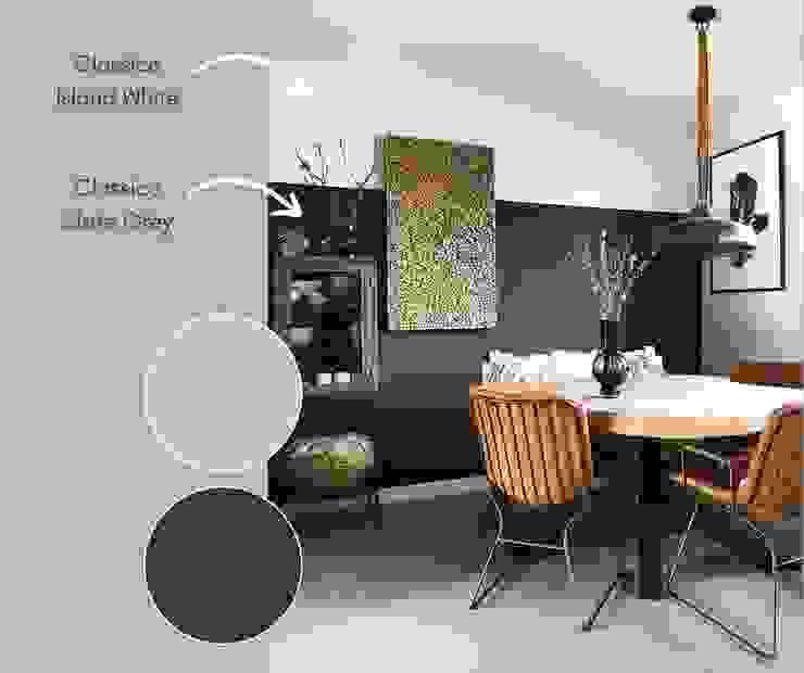 Eetkamer geverf met Classico krijtverf in de kleur Slate Grey en Island White van Pure & Original: modern  door Pure & Original, Modern