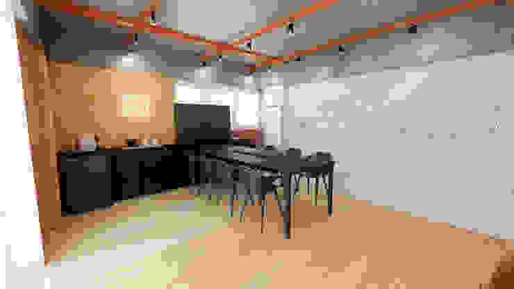Sala de reunião moderna e industrial Escritórios industriais por Mirá Arquitetura Industrial Alumínio/Zinco