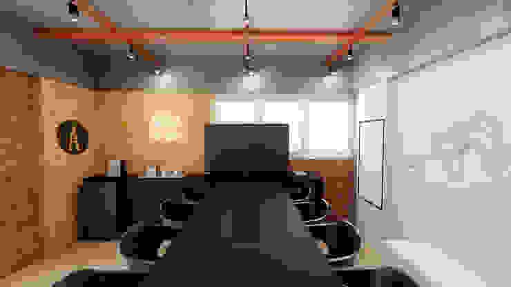 Sala de reunião industrial Escritórios industriais por Mirá Arquitetura Industrial MDF