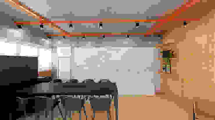 Sala de reunião moderna e industrial Escritórios industriais por Mirá Arquitetura Industrial MDF
