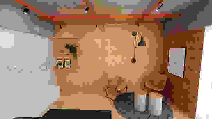 Sala de reunião moderna, industrial e aconchegante Escritórios industriais por Mirá Arquitetura Industrial OSB