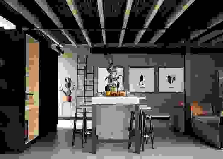 質感工業住宅設計Textured industrial house design May kong 美空設計 書房/辦公室 強化水泥 Grey