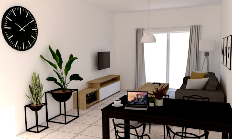 Scandinavian style dining room by estudio nou Scandinavian Wood Wood effect