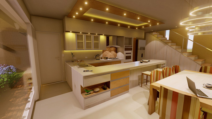 Aida tropeano& Asociados Built-in kitchens Engineered Wood Beige