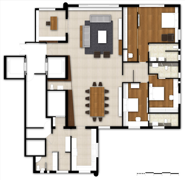 Coloured floor plan - Option 1: modern  by M2A Design, Modern