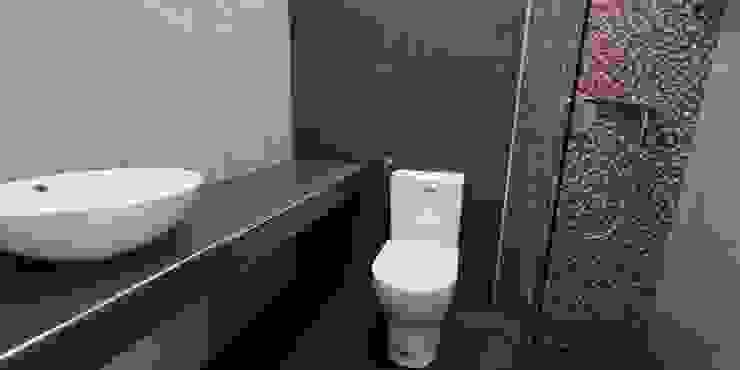 aspecto final da casa de banho IIP - Reabilitação e Construção Casas de banho modernas Cerâmica Cinzento
