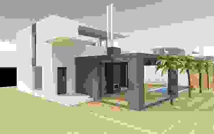 Buitenaanzicht villa (twee etages) van MEF Architect Modern Beton