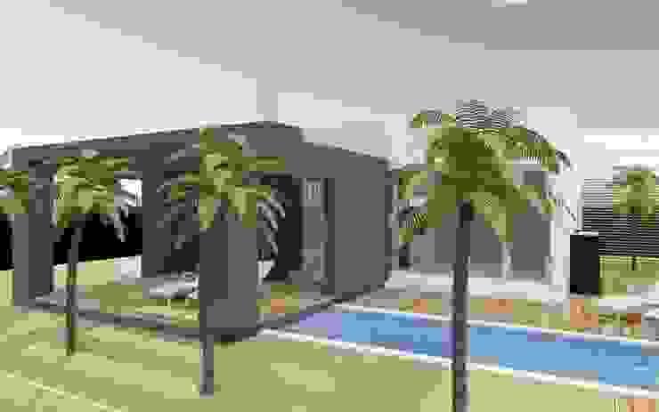 Zijaanzicht van MEF Architect Modern Gewapend beton