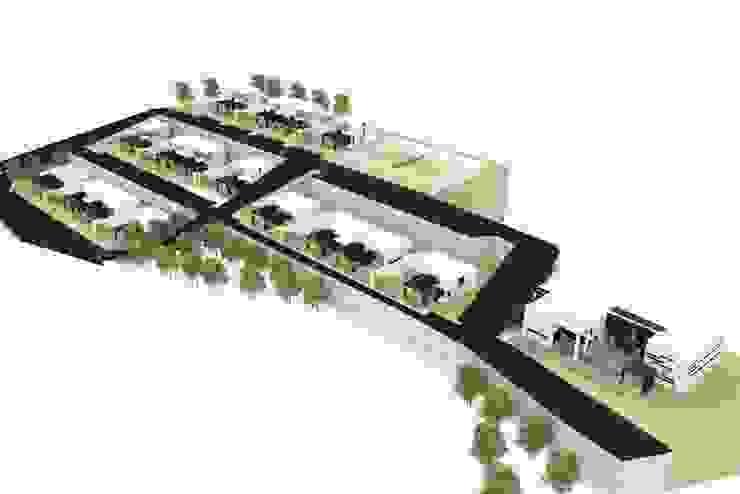 Layout met de villa's en voorzieningen van MEF Architect Modern Gewapend beton