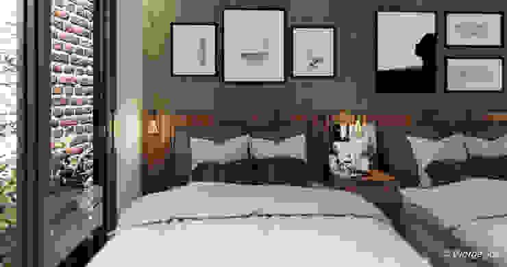Hotel AB Axle Recámaras pequeñas Concreto Acabado en madera