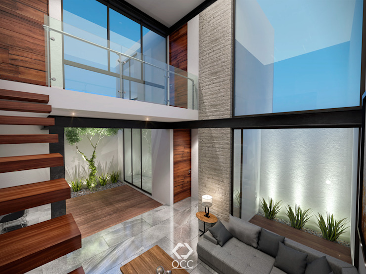Casa PASEOS DEL SOL: Sala - Jardín Salones modernos de Constructora OCC Moderno