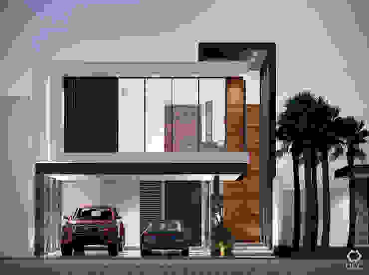 Casa PASEOS DEL SOL: Fachada Principal - Atardecer de Constructora OCC Moderno