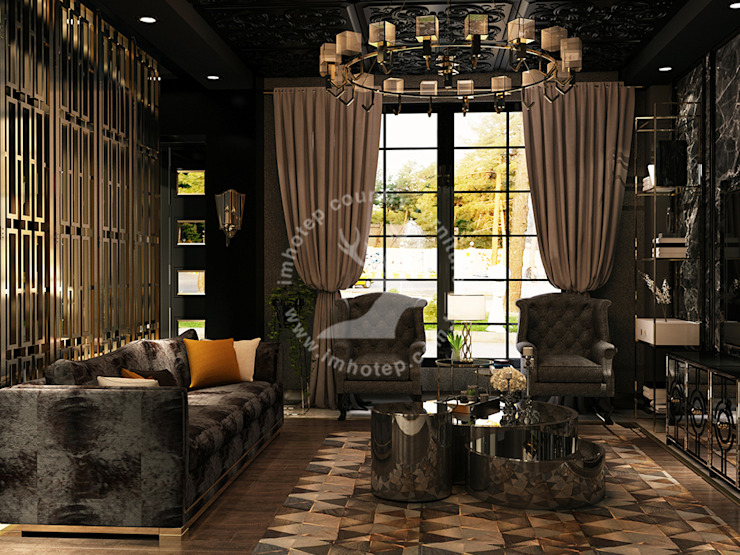 İMHOTEP COUNTRY FURNİTURE Proje Tasarım&Aydınlatma Eclectic style living room Solid Wood Grey