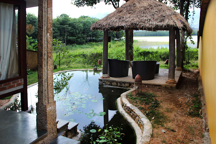 Pond and Gazebo Benny Kuriakose Asian style bars & clubs
