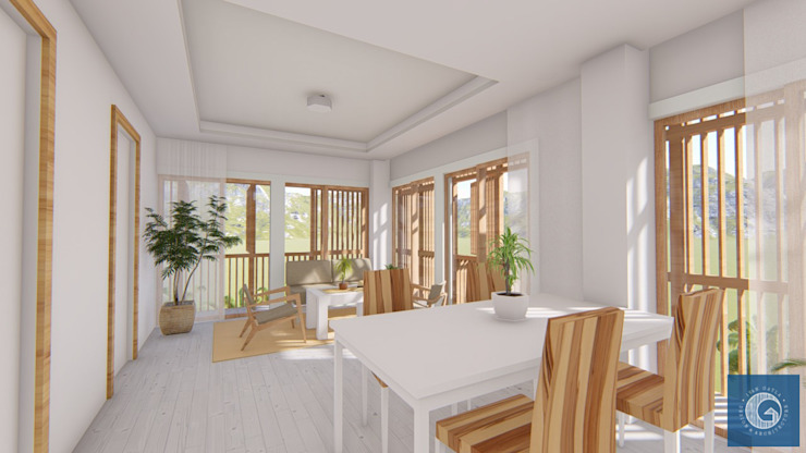 Interior Perspective Ivan Gatla Architecture Tropical style dining room Wood White