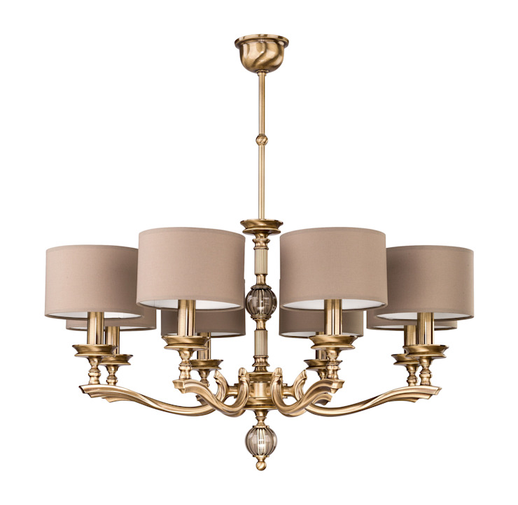 Classic Luxury Chandelier TIVOLI 8 Light In Brushed Brass and Brown lamp Shades Luxury Chandelier Dining roomLighting Copper/Bronze/Brass Amber/Gold