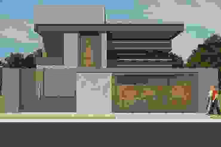 Fachada Residencial - Conceito Industrial Casas industriais por Júlio Padilha Fabiani - Arquiteto Industrial
