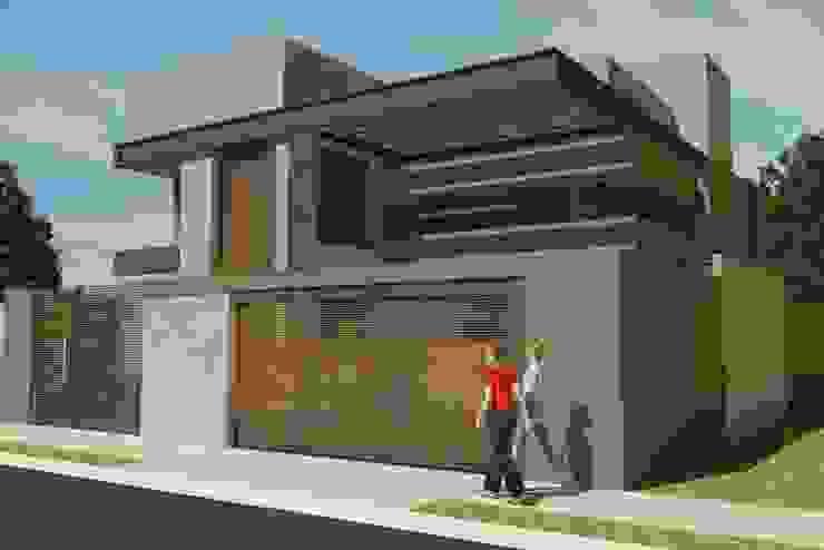Fachada Residencial - Conceito Industrial Casas industriais por Júlio Padilha Fabiani - Arquiteto Industrial Concreto