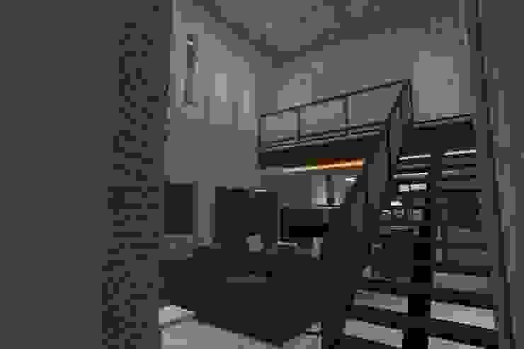 Sala estar e Cozinha integrada - Conceito Industrial por Júlio Padilha Fabiani - Arquiteto Industrial