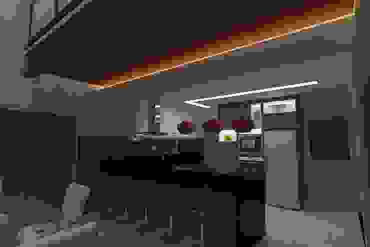 Sala estar e Cozinha integrada - Conceito Industrial Cozinhas industriais por Júlio Padilha Fabiani - Arquiteto Industrial