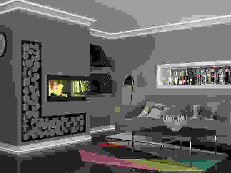Wohnbereich mit indirekter Beleuchtung Mardom Deutschland GmbH Moderne Wohnzimmer